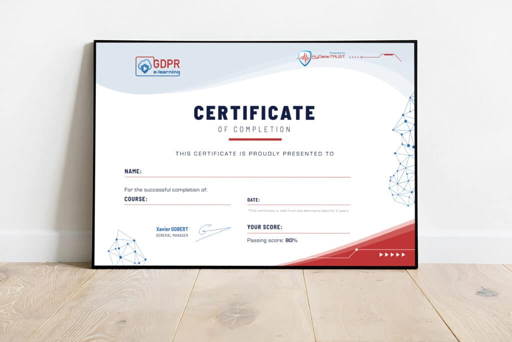 Certificate of completion for GDPR trainings