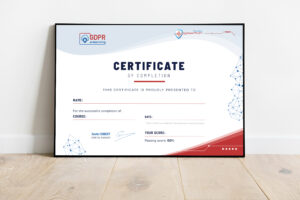 Certificat of completion for elearning GDPR